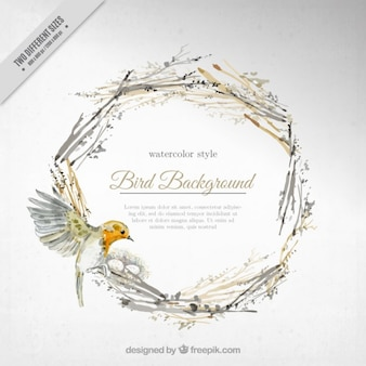 Watercolor cute background bird on a floral wreath