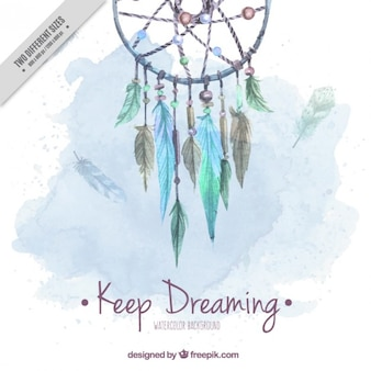 Watercolor cute background with dream catcher