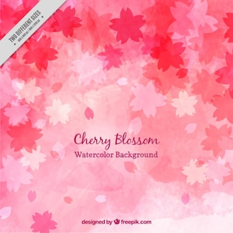Watercolor cute cherry blossom background