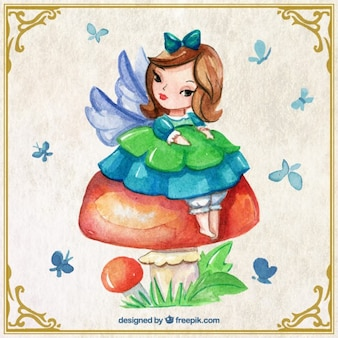 Watercolor cute fairy on a mushroom