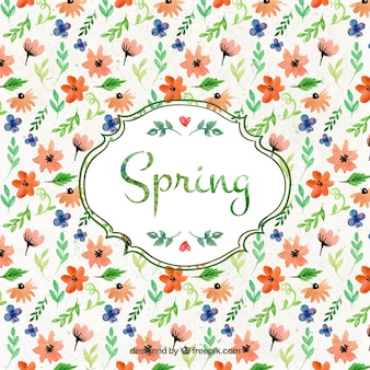 Watercolor cute flowers background