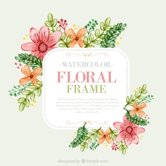 Watercolor cute flowers with leaves floral label