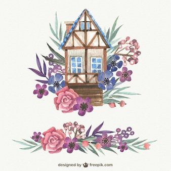 Watercolor cute house with flowers