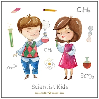 Watercolor cute scientist kids