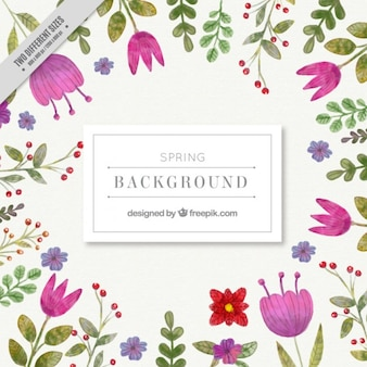 Watercolor cute spring flowers background