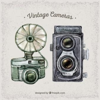 Watercolor cute vintage cameras