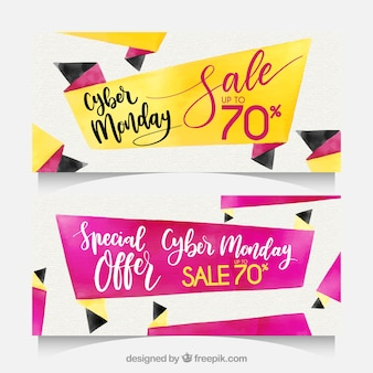 Watercolor cyber monday banners