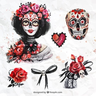 Watercolor day of the dead elements