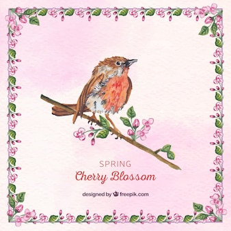 Watercolor decorative background of bird on a branch with flowers