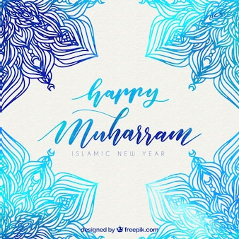 Watercolor decorative background of islamic new year