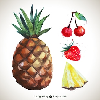 Watercolor delicious fruits