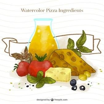 watercolor delicious pizza ingredients