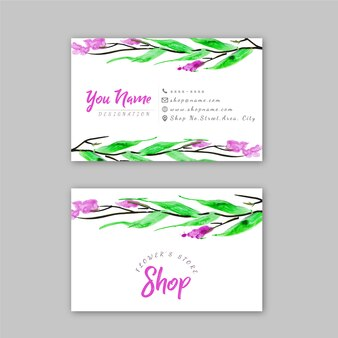 Watercolor design flower's store business card