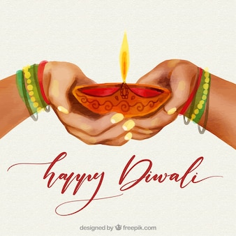 Watercolor diwali background with hands design