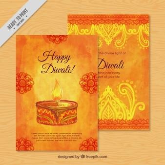 Watercolor diwali card
