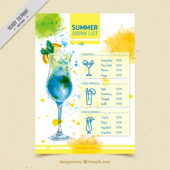 Watercolor drink list