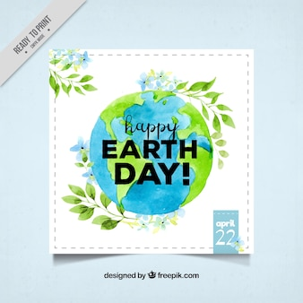 Watercolor earth day greeting