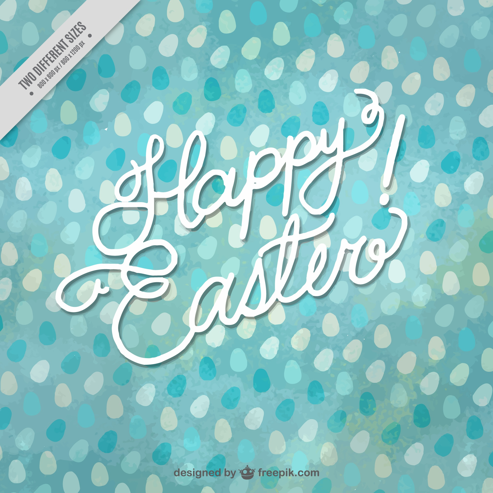 Watercolor easter background with eggs in blue tones