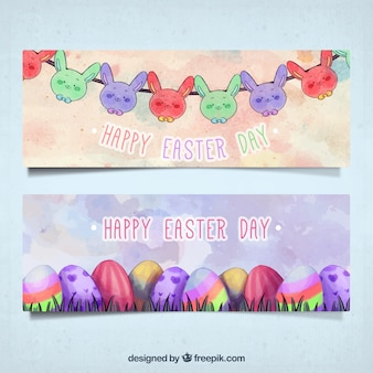 Watercolor easter banners with rabbit garland and colorful eggs