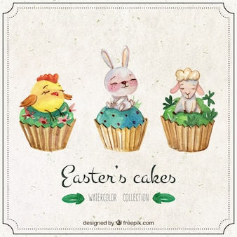 Watercolor Easter's cakes