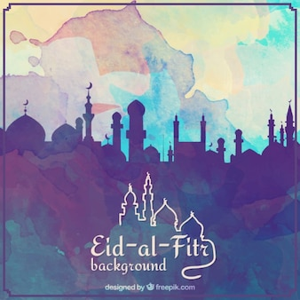 Watercolor eid al fitr background with silhouette