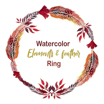 watercolor Elements & Feather Ring