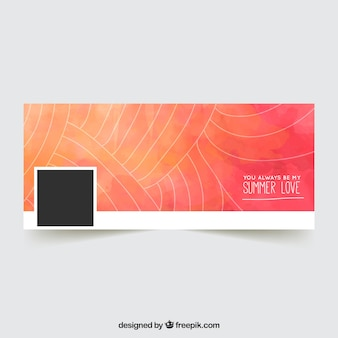 Watercolor facebook cover with hand drawn lines