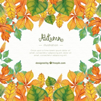 Watercolor fall leaves background with template