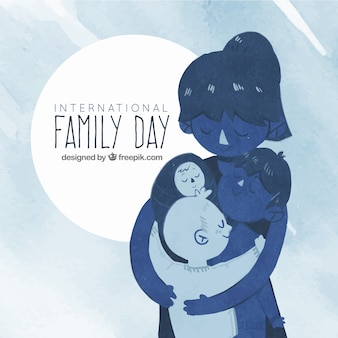 Watercolor family day background in blue tones