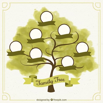 Watercolor family tree with green ribbons