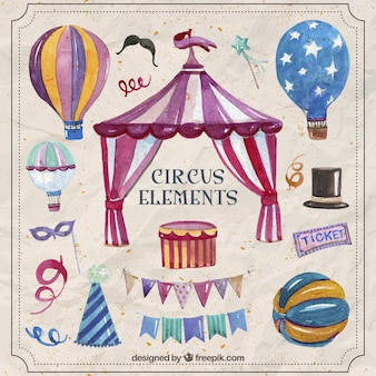Watercolor fantastic circus elements