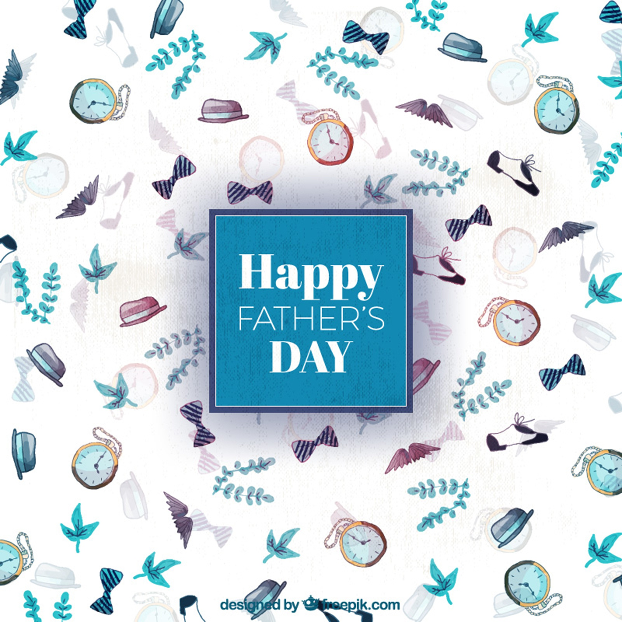 Watercolor father's day background with blue details