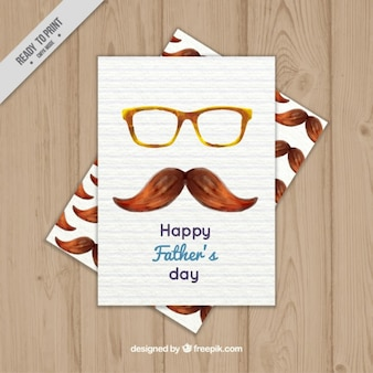 Watercolor father's day card with glasses and moustache