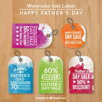 Watercolor father's day sale labels