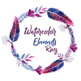 Watercolor feather wreath
