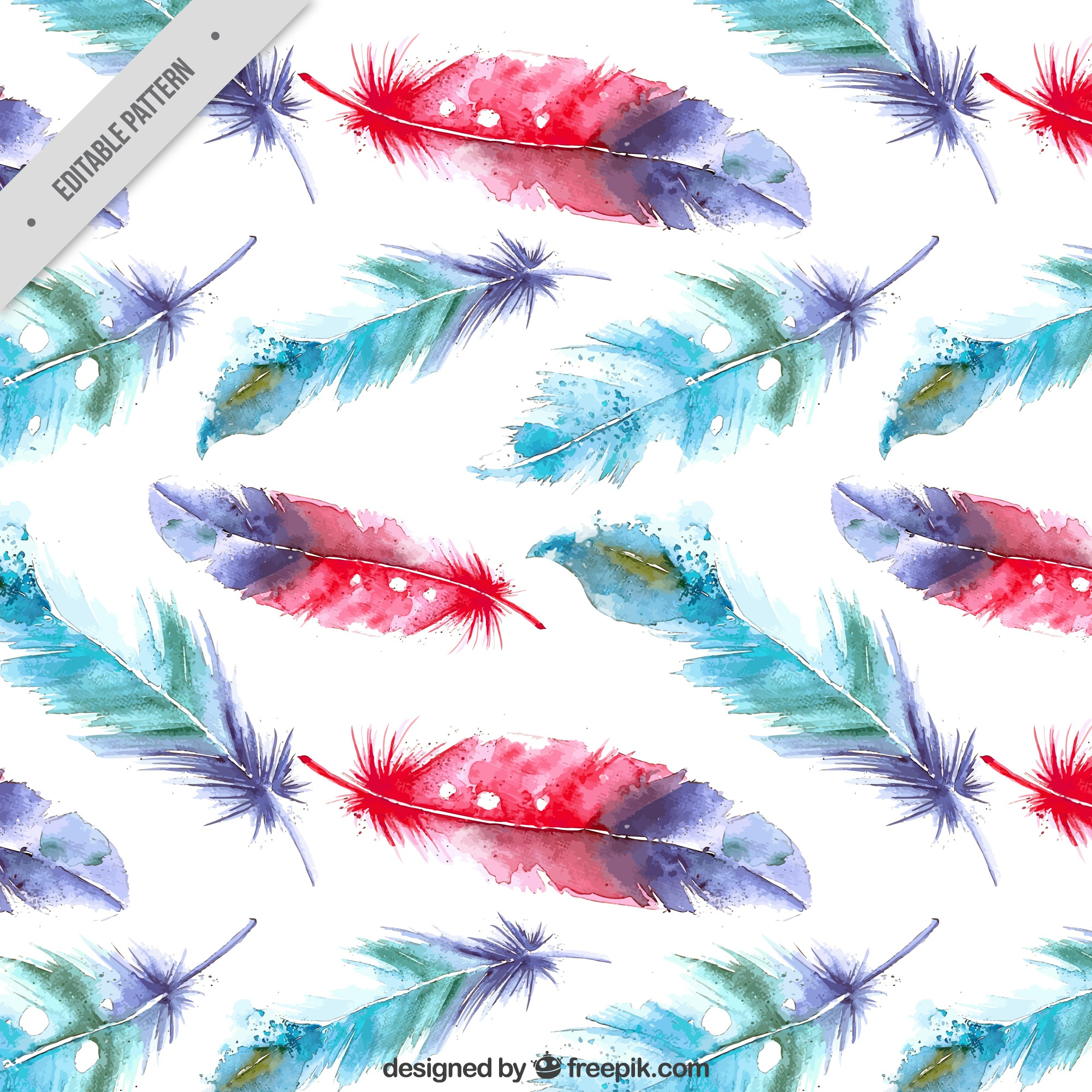 Watercolor feathers background