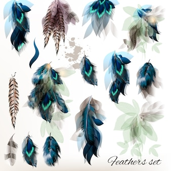 Watercolor feathers pack