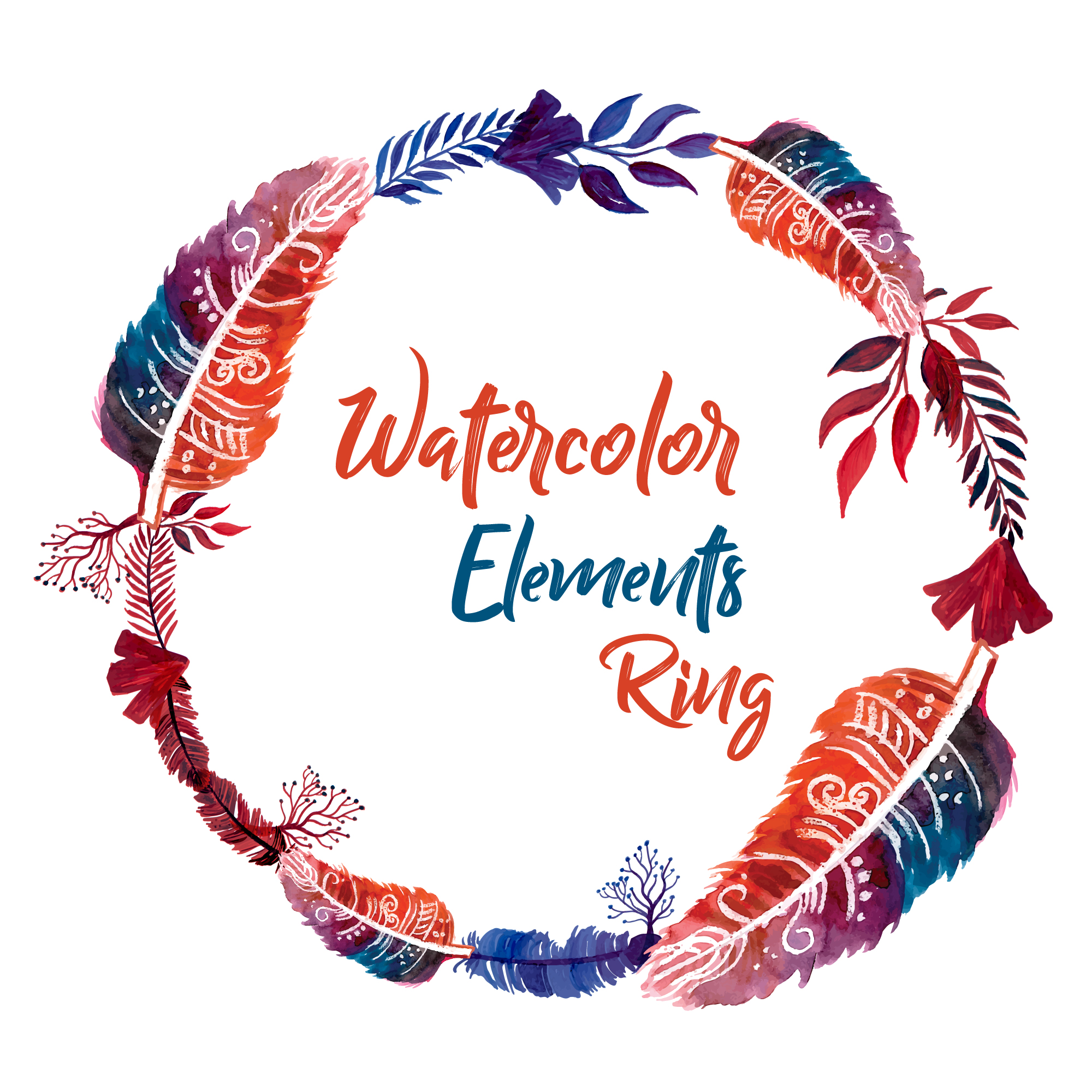 Watercolor feathers ring