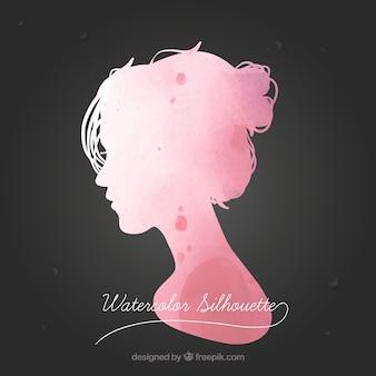 Watercolor female silhouette