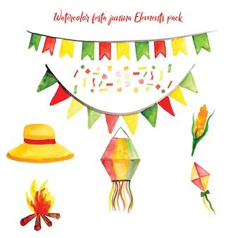 Watercolor festa junina elements collection