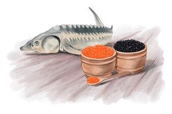 Watercolor fish design