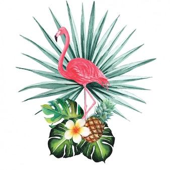 Watercolor flamingo decorative design
