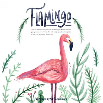Watercolor flamingo with leaves