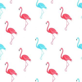 Watercolor flamingos pattern