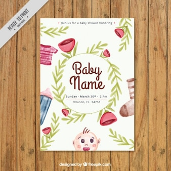 Watercolor floral baby shower card