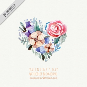 Watercolor floral background for valentine's day