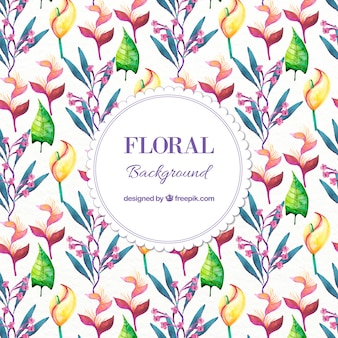 Watercolor floral background with leaves