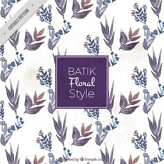 Watercolor floral batik pattern