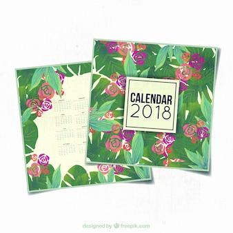 水彩の花のカレンダー