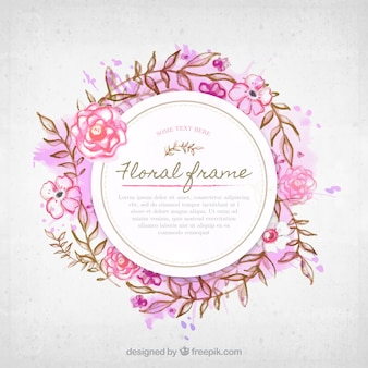 Watercolor floral frame with cool style